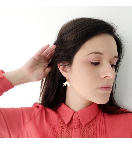 Boucles d'oreilles végétales petites créoles